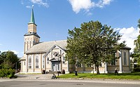Historic wooden cathedral church in city centre, Tromso, Norway built in Gothic Revival architectural style