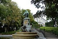 Le Petit Sablon Square, Statue of Egmont and Horne, Brussels, Belgium, Europe.