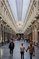 Galeries Royales St. Hubert, Commercial galleries opened in 1847 by king Leopold I. Brussels, Belgium, Europe.