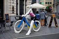 La Cycliste  by Alain Sechas, Cat on a bike sculpture. Brussels, Belgium, Europe.