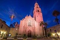 The Museum of Man building illuminated at night. Balboa Park, San Diego, California.