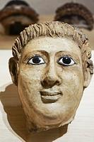 Sarcophagus top. Egyptian Ptolemaic collection. Louvre Museum. Paris. France.