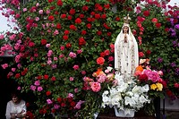 An image of Our Lady of Fatima is displayed in a home full of flowers during a religious celebration in El Gastor, Sierra de Cadiz, Andalusia, Spain.