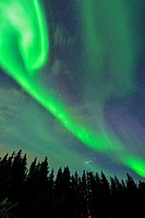 Aurora borealis (Northern Lights) over Great Slave Lake , Hay River, Northwest Territories, Canada.