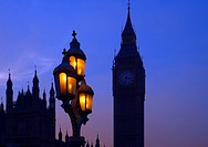 The street lighting and Houses of Parliment at westminster winter sunset UK.