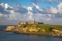 Setting sunlight over fortress El Morro, old town, San Juan, Puerto Rico.