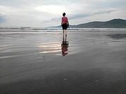 Reflections on Inch Strand, Dingle Peninsula, County Kerry, Ireland.