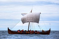 viking boat with tourists in the harbour of Reykjavik, Iceland.