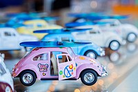 Various aligned toy cars, San Diego, California.