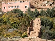 Building and ruined structure at the Dades Valley, Morocco.