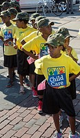 Detroit, Michigan - Children wait to march in Detroit´s Labor Day parade. They are with members of the Service Employees International Union, which is...