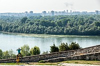 Aerial view from Upper City of Belgrade Fortress, Serbia with Danube River and Great War Island.