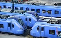 Trains on a railroad station i Ystad, Sweden.