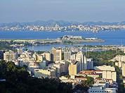 Brazil, City of Rio de Janeiro, View over Gloria from Mirante do Rato Molhado in Santa Teresa.