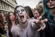 Participants of the 9th Zombie Walk on 28th of June 2015 in Warsaw, Poland.