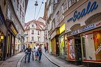 Street scene, in Sporgasse, Graz, Styria, Austria.