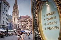 Street scene, in Stephansplatz, in background St. Stephen's Cathedral in Vienna, Austria.