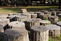 Historic columns, Olympia, Peloponnese, Greece.
