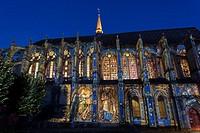 Saint Pierre Peter Church illuminated, Chartres, Eure et Loir, France.