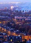 UK, Scotland, Edinburgh, Fireworks over the Morningside Neighbourhood viewed from the Blackford Hill.