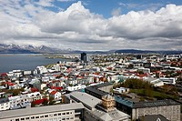 aerial view over the southeastern area of city of reykjavik Iceland.