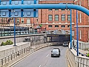 Southwest portal of the Sumner tunnel which moves traffic under the Boston Harbor from East Boston and the Logan Airport area toward Downtown Boston n...