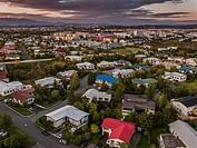 Hafnarfjordur suburb of Reykjavik, Iceland This image is shot using a drone.