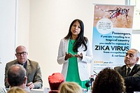 Florida, Miami Beach, Waverly Condominiums, Zika Virus Town Hall Meeting, Surgeon General and Secretary, Celeste Philip, speaking, Hispanic, woman,