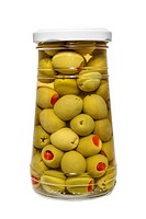 Food. Jar of pickled olives stuffed with red peppers.