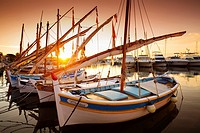 Fishing boats at fishing port, Marina, old harbour. Village of Bandol. Var department, Provence Alpes Cote d'Azur. French Riviera. Mediterranean Sea. ...