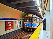 A Blue Line subway train enters the Government Center station in Boston, Massachusetts.