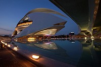 View to the Palau de les Arts, City of Arts and Sciences by night, Valencia, Spain, Europe