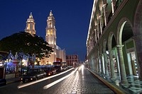 Catedral de Nuestra Senora de la Purisima Concepcion, Cathedral of Campeche at Zocalo in the historical center listed as World Heritage Site by Unesco...
