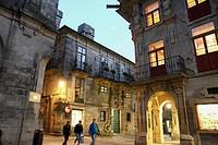 Santiago de Compostela by night La Coruna Galicia Spain.
