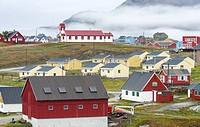 The small town Narsaq in the South of Greenland . America, North America, Greenland, Denmark.