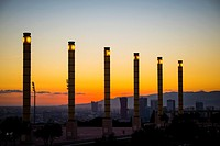 Olympic Park of Montjuic in Barcelona Catalonia Spain.