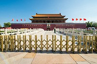 Beijing China - A paramilitary policeman standing guard in front of the Meridian Gate (WuMen), the outside gate surrounding the Forbidden City. Chairm...