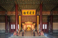 Beijing China - Ornately decorated Emperor's throne room in the Palace Museum located in the Forbidden City.