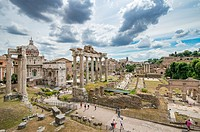 Rome, Italy- The ruins of the Roman Forum, the ancient social, political and commercial hub of the Roman Empire. This district was home to temples, ba...