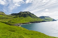 The west coast at Nordradalur. The island Streymoy, one of the two large islands of the Faroe Islands in the North Atlantic. Europe, Northern Europe, ...