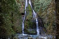 View of Feature Show Falls along the Boulder River trail in the Boulder River Canyon in the North Cascade Mountains near Arlington, Washington State, ...