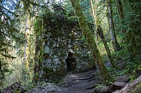 The historic kiln with ferns and mosses growing out of the cracks on the Lime Kiln Trail near Granite Falls, Washington State, USA.