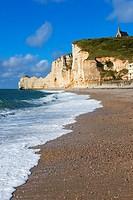 Etretat. Normandy, Porte d´Amont Cliff, Falaise Porte d´Amont, Notre Dame de la Garde Church, Seine Maritime, Upper Normandy, Haute Normandie, France.