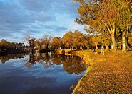 Argentina, Buenos Aires Province, San Antonio de Areco, View of the Areco River at sunset.