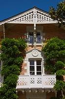 House, facade with trees, Jardin des Plantes, Nantes, Loire Atlantique, France
