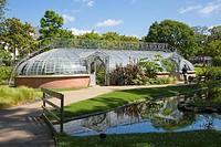 Water garden and greenhouse, Jardins des Plantes, Nantes, Loire Atlantique, France