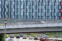 Modern architecture, building and cars, Nantes, Loire Atlantique, France