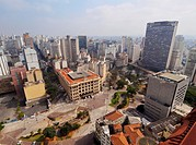 Brazil, State of Sao Paulo, City of Sao Paulo, Elevated view of the city center with Anhangabau Park and Central dos Correios viewed from the Martinel...
