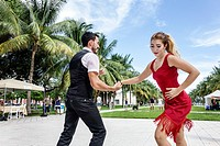 Florida, Miami Beach, Collins Park, free music concert, Timbalive, Cuban, Hispanic, man, woman, couple, salsa dancers,