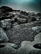 Boulders, sea defence in Wales UK